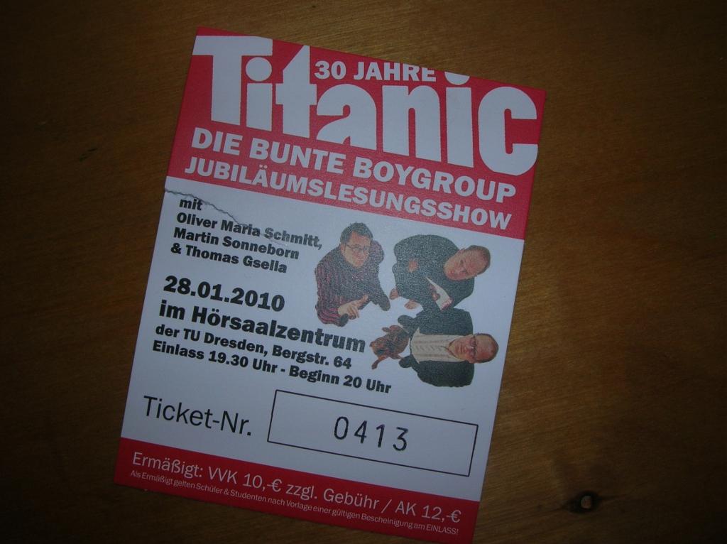 30 Jahre Titanic - Die Eintrittskarte